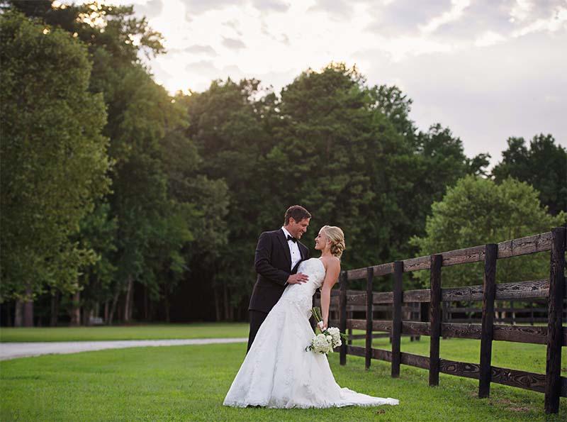 Groom dips Bride at Fox Hollow Farm