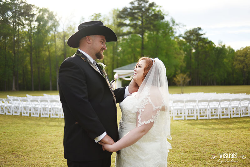 Bride and Groom Embrace at Fox Hollow Farm