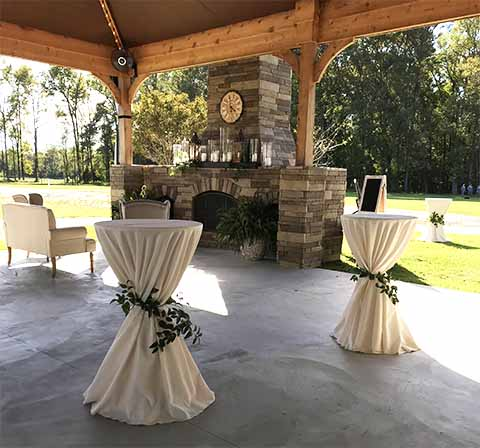 Venue Features - Dressed Cocktail Tables, Outdoor Covered Patio